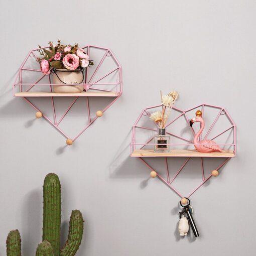 portemanteau mural avec étagère rose